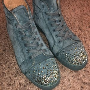 Christian Louboutin Men's Suede Studded Sneakers